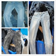 female and male used jeans
