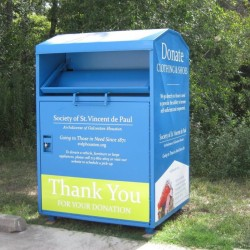 blue clothes recycling bin