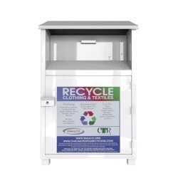white type used clothes recycling bin
