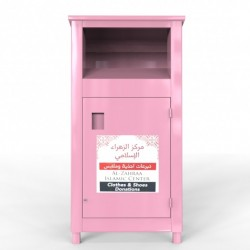 pink clothes recycling bin